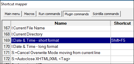 notepad ++ date shortcut